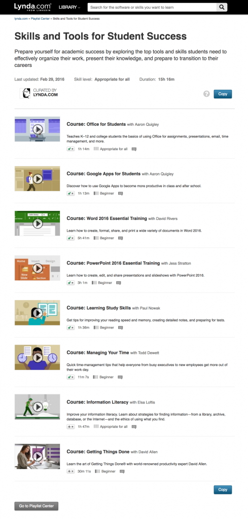 Screen capture of Lynda.com playlist, Skills and Tools for Student Success
