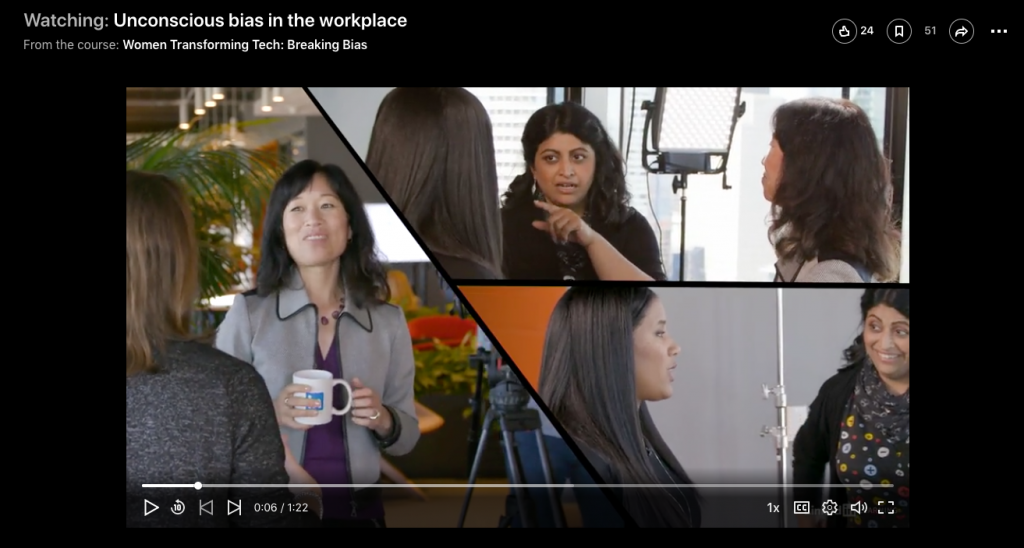 screenshot from LinkedIn Learning course, Women Transforming Tech: Breaking Bias