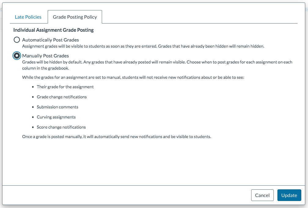 screenshot of Grade Posting Policy tab in Canvas Gradebook