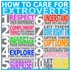 How to Care for Extroverts, from The Introvert's Dilemma blog