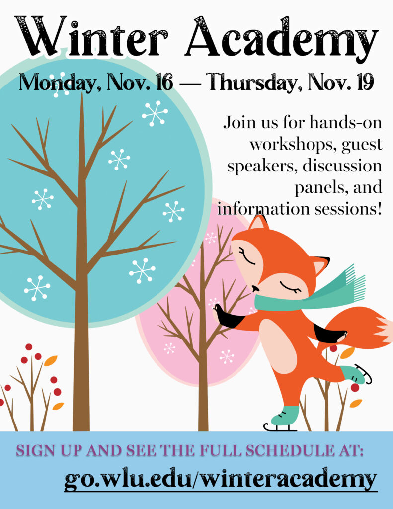 Winter Academy, Nov 14-19, 2020 poster - cute fox skating on a frozen lake
