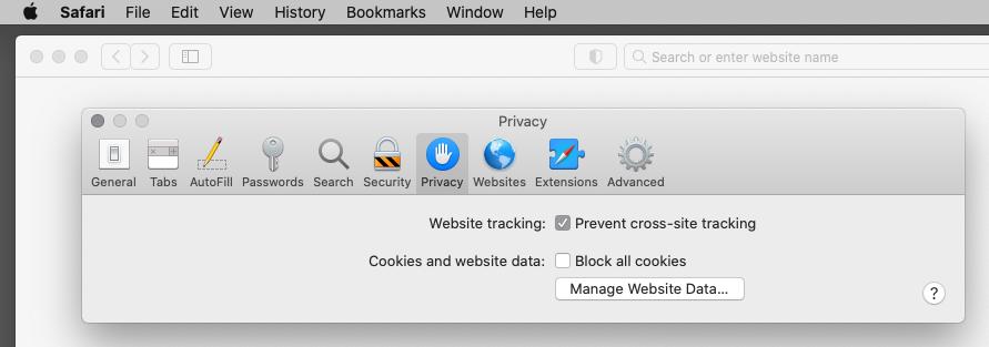 Prevent cross-site tracking in Safari on a Mac